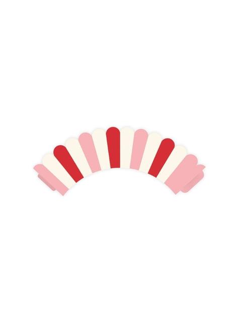 6 basi per cupcake righe rose e rosse di carta - Sweet Love Collection