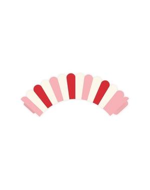 6 bases para cupcakces de riscas cor-de-rosa e vermelhas de papel - Sweet Love Collection