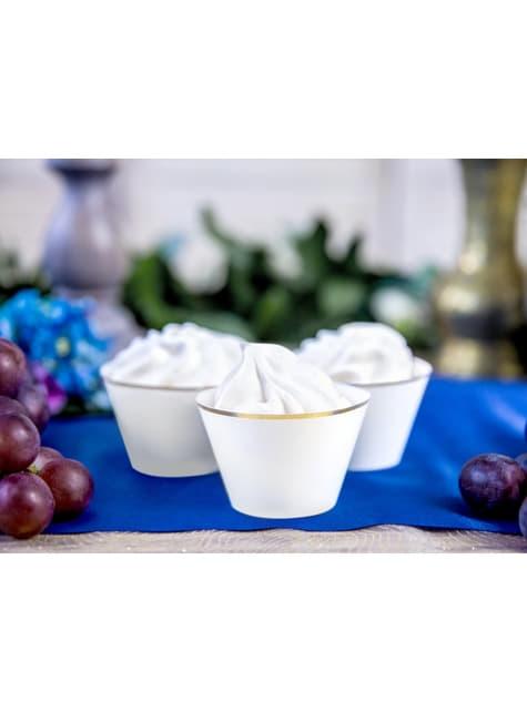 6 cápsulas para cupcakes blanco con borde dorado - First Communion - para tus fiestas