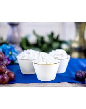 סט 6 Cupcake אורזים עם זהב רים, לבן - הקודש הראשון