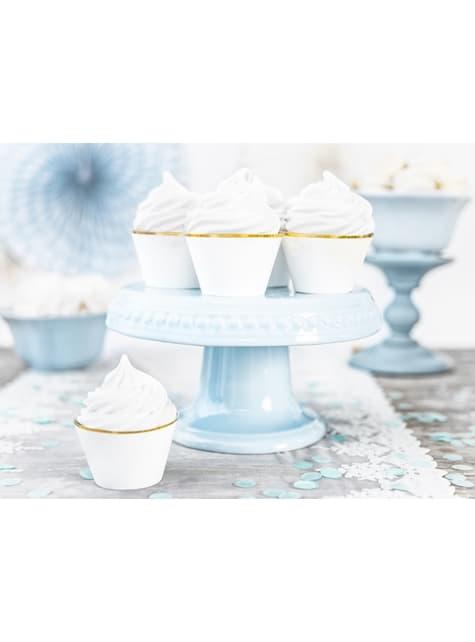 6 cápsulas para cupcakes blanco con borde dorado - First Communion - barato