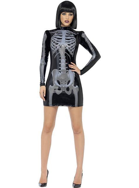 Disfraz de esqueleto Fever ajustado para mujer - mujer