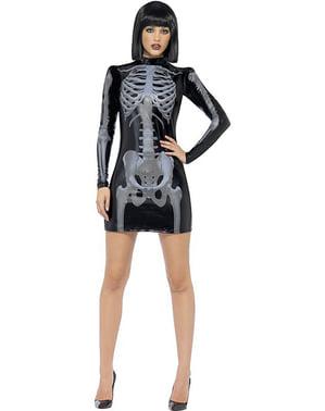 Skelett Kostüm für Damen enganliegend Fever
