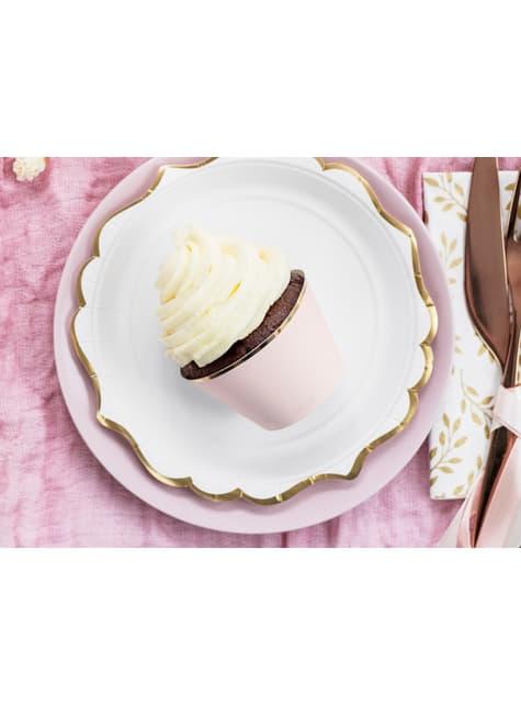 6 cápsulas para cupcakes rosa pastel con borde dorado de papel - barato