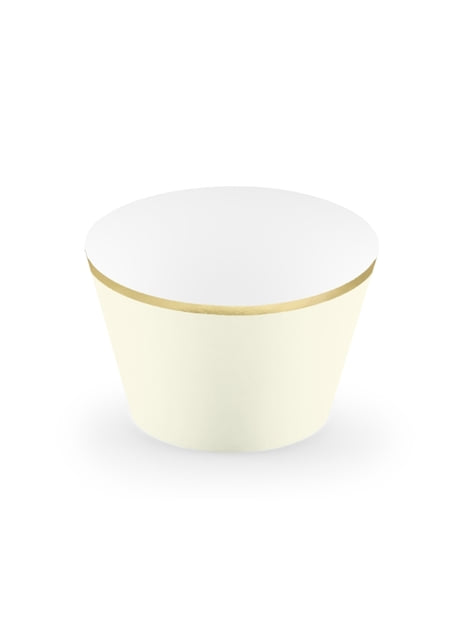 6 cápsulas para cupcakes beige con borde dorado de papel