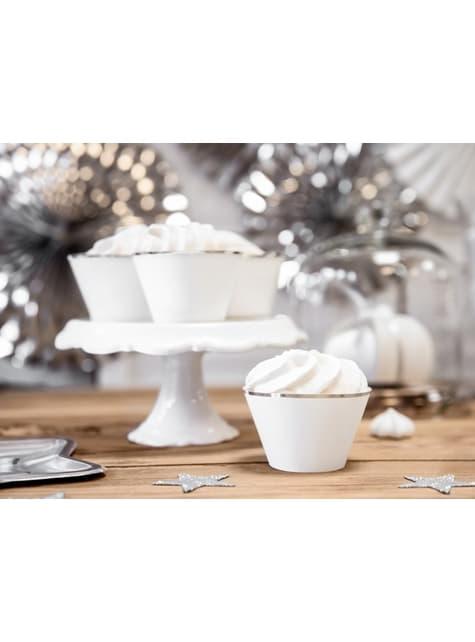 6 cápsulas para cupcakes blanco con borde plateado de papel - para tus fiestas