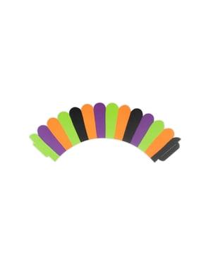 6 cupcake papiertjes met multikleuren strepen - Hocus Pocus Collectie