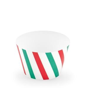 Zestaw 6 papierowe foremki do babeczek w zielone & czerwone paski - Merry Xmas Collection
