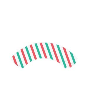 6 forme pentru cupcakes cu dungi verzi și roșii de hârtie - Merry Xmas Collection