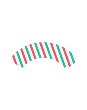 6 Paper Cupcake Wrappers with Green & Red Stripes - Merry Xmas Collection
