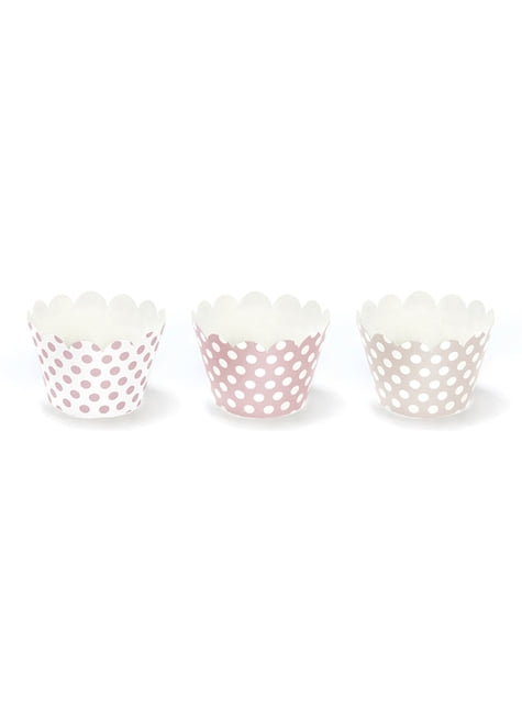 6 cápsulas para cupcakes rosas con lunares de papel - Sweets