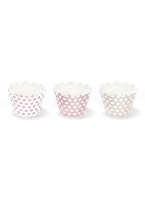 6 moules à cupcakes roses à pois en carton - Sweets