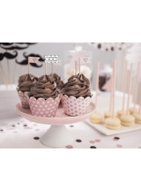 6 basi per cupcake rosa con pois di carta - Sweets