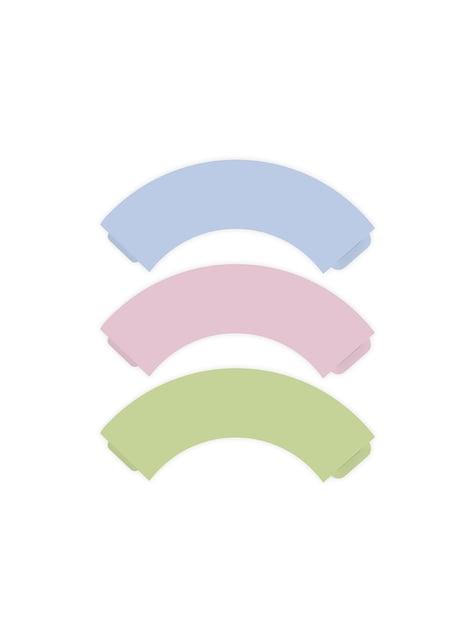 6 cápsulas para cupcakes tonos pastel de papel - Pastelove - para tus fiestas