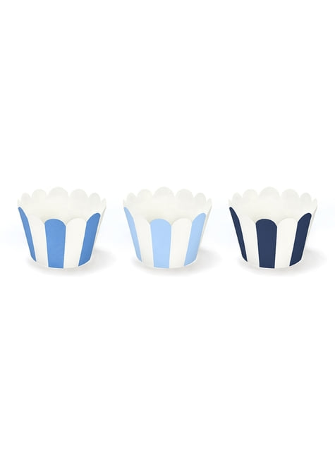 6 moules à cupcakes à rayures bleues en carton - Little Plane