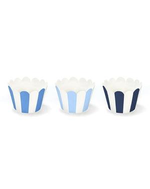 סט 6 נייר Cupcake אורזים עם פסי כחולים - מטוס קטן