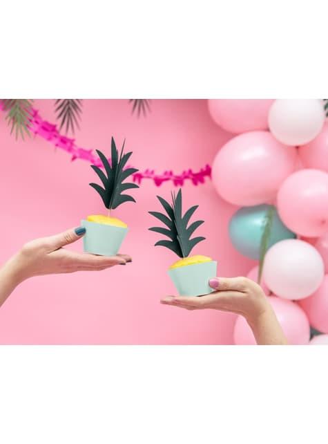 6 pirottini per cupcakes turchesi di carta - Aloha