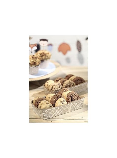 Kit de 6 bases para cupcakes e 6 palitos decorativos de papel Kraft - Woodland Collection