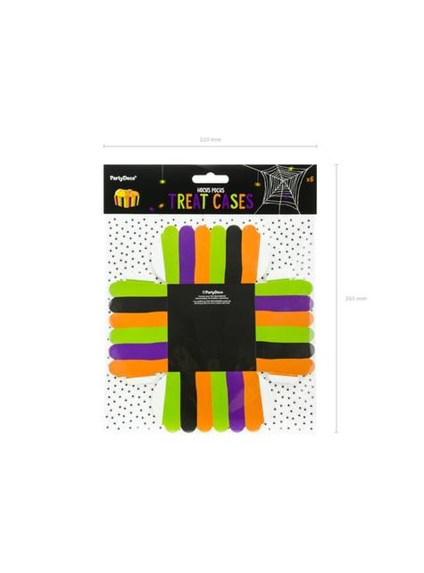 6 cajitas para aperitivos de rayas multicolor de papel - Hocus Pocus Collection