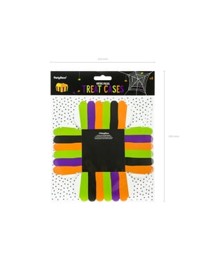 6 Paper Treat Boxes with Multicolor Stripes - Hocus Pocus Collection