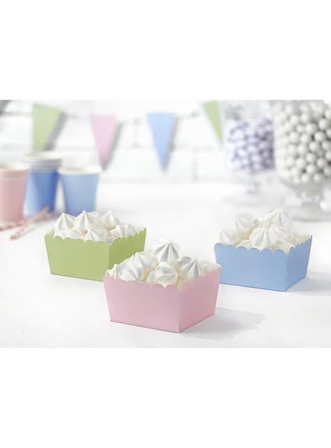 6 cajitas variadas para aperitivos tonos pastel de papel - Pastelove - para tus fiestas