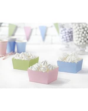 6 cajitas variadas para aperitivos tonos pastel de papel - Pastelove