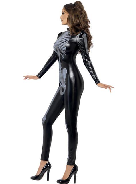 Disfraz de esqueleto Fever segunda piel para mujer - traje
