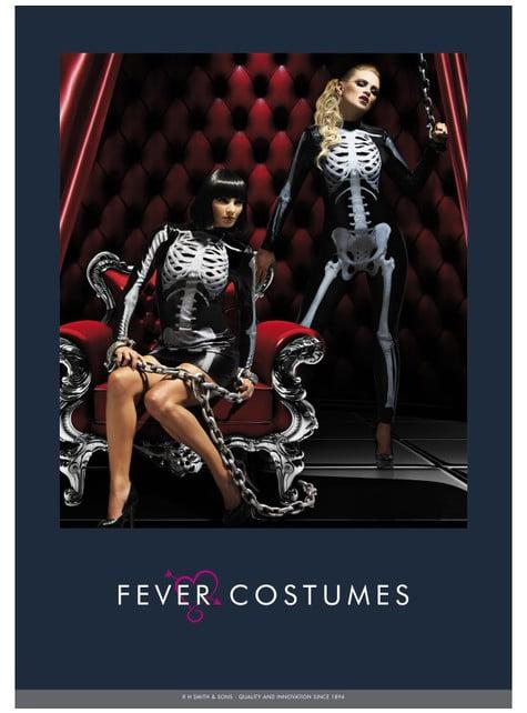 Fato de esqueleto Fever segunda pele para mulher