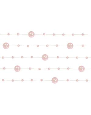5 guirlandes de perles rose clair de 1,3 m