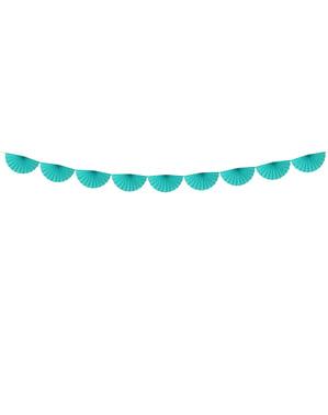 Grinalda de leques de papel decorativos azul turquesa