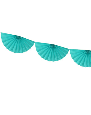 Decorative paper fan garland in turquoise blue
