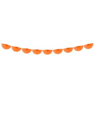 Guirnalda de abanicos de papel decorativos naranja