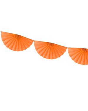 Guirlande d'éventails en papier orange