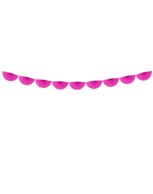 Decorative paper fan garland in fuchsia