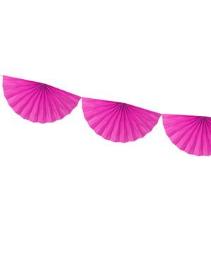 Guirnalda de abanicos de papel decorativos fucsia