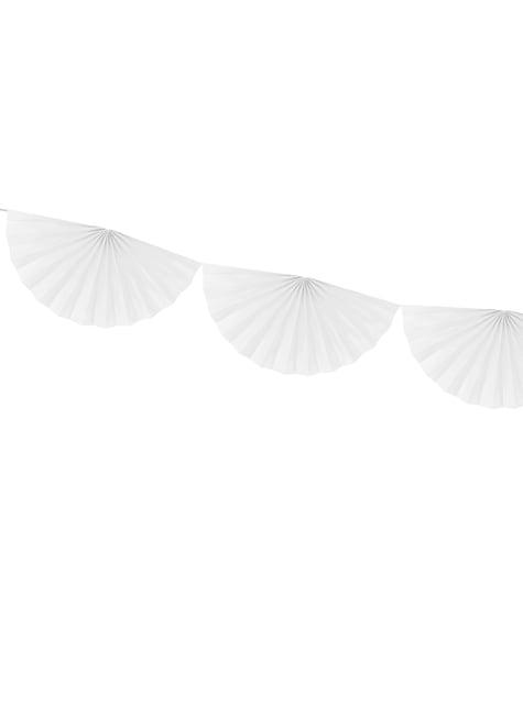 Guirnalda de abanicos de papel decorativos blanco - para tus fiestas