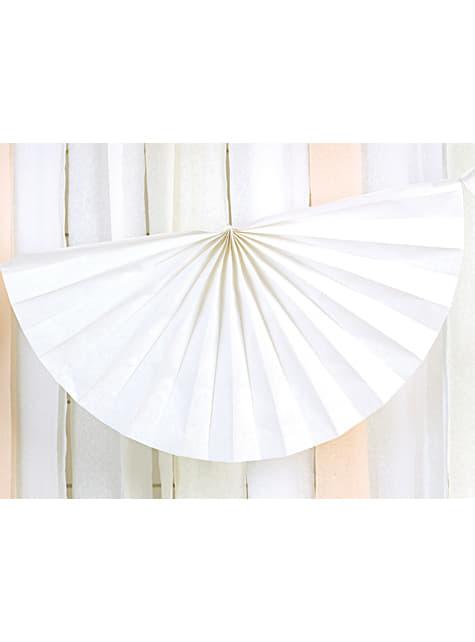 Guirnalda de abanicos de papel decorativos blanco - barato
