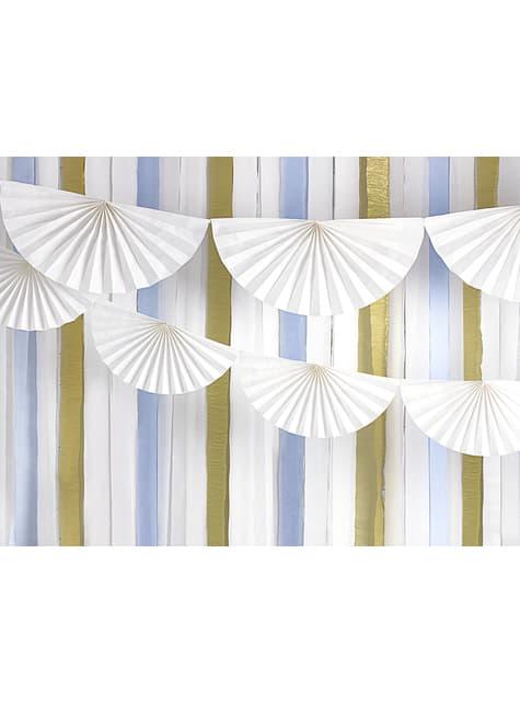 Guirnalda de abanicos de papel decorativos blanco - comprar