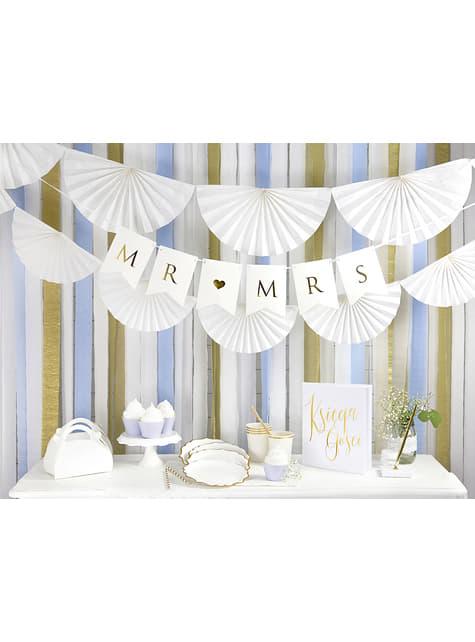 Guirnalda de abanicos de papel decorativos blanco - para niños y adultos