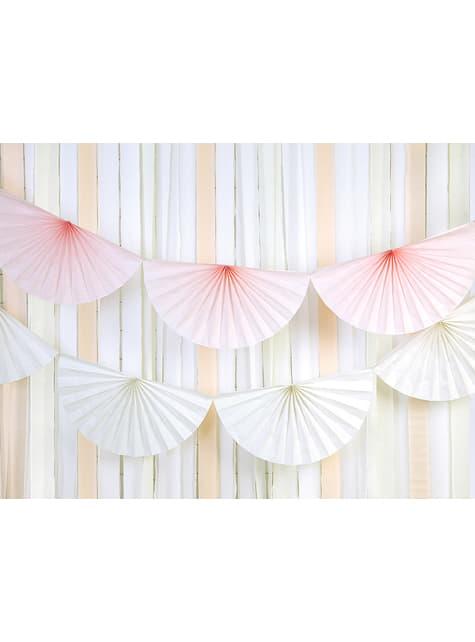 Guirnalda de abanicos de papel decorativos blanco - original