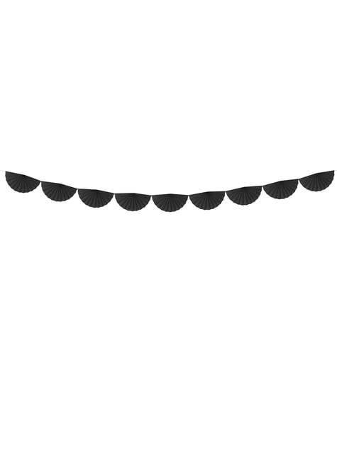 Guirnalda de abanicos de papel decorativos negro
