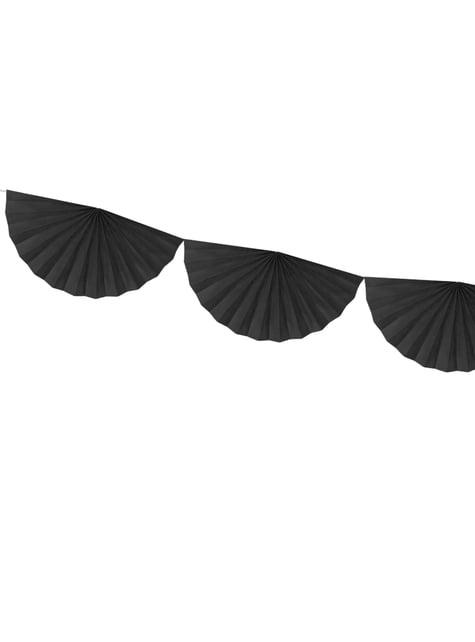 Guirnalda de abanicos de papel decorativos negro - para tus fiestas