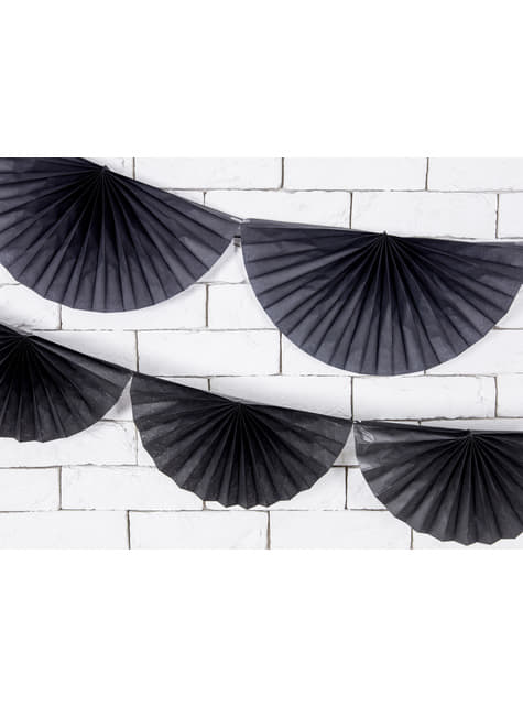 Guirnalda de abanicos de papel decorativos negro - barato