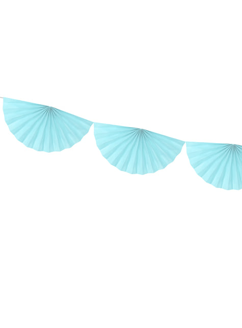 Guirnalda de abanicos de papel decorativos azul cielo - para tus fiestas