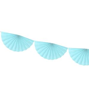 Decorative paper fan garland in sky blue