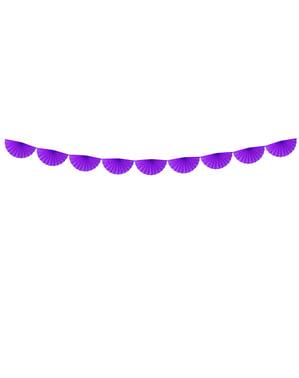 Guirnalda de abanicos de papel decorativos violeta