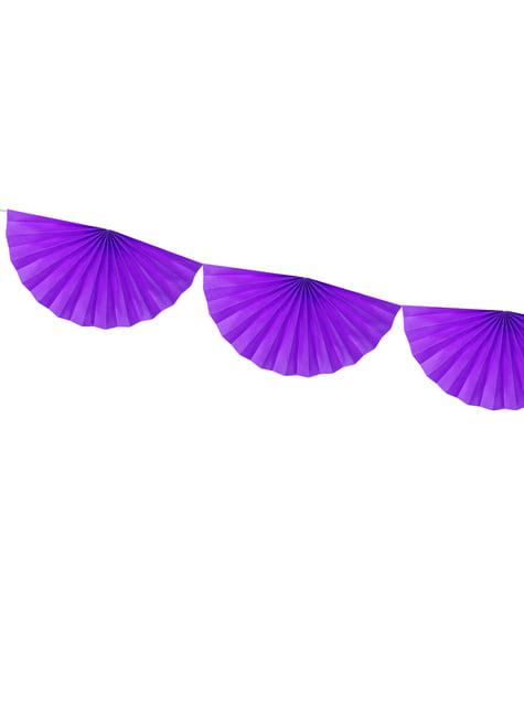 Guirnalda de abanicos de papel decorativos violeta - para tus fiestas