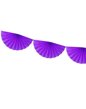 Decorative paper fan garland in violet