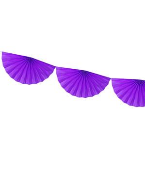 Decorative paper fan garland in violet