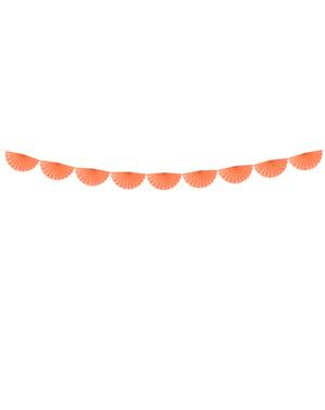 Decoratieve papieren waaier slinger in het perzik